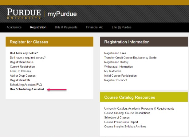 myPurdue screenshot